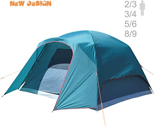 NTK Philly GT Outdoor Dome Family Camping Tent 100 Waterproof 2500mm, Easy Assembly, Durable Fabric Rainfly, Micro Mosquito Mesh Available in 3,4,6 and 9 Persons