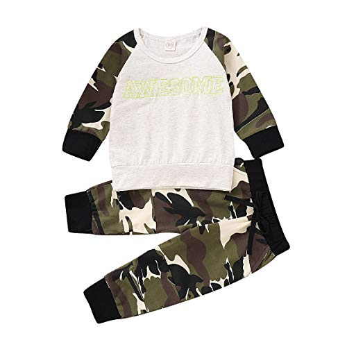 (Baby Boys Girls Family Clothes Long Sleeve Camouflage Romper Outfit Pants Set +Headband (Beige+Camo, 6-12 Months))