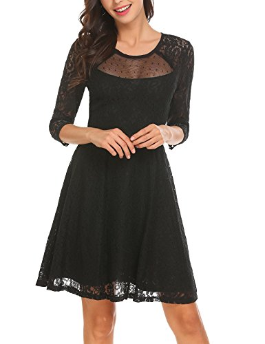 ACEVOG Womens Floral Lace 3/4 Sleeve A Line Round Neck Pleated Swing Cocktail Party Dress