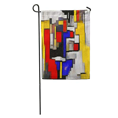 Semtomn Garden Flag Primitive Cubism The Minimalist Story in Vivid Colours Modern Pop Home Yard House Decor Barnner Outdoor Stand 12x18 Inches Flag