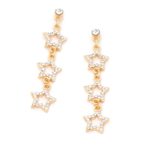 Bridal Earrings Gold Crystal Rhinestone Chain Links with 3 Gold Star Shape Dangle Earrings