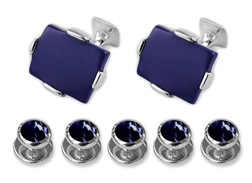 - Sterling silver large lapis rectangular Cufflinks Shirt Dress Studs Gift Set