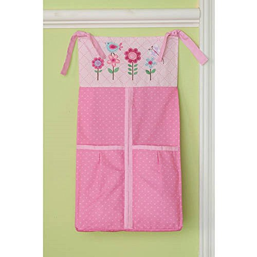 Infant Diaper Stacker (Hearts At Home Girls Baby Diaper Stacker Pink Flowers and Hearts)