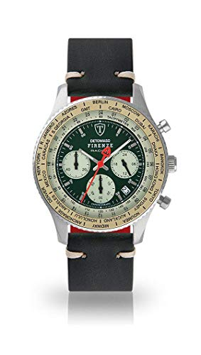 DETOMASO Firenze Mens Watch Chronograph Analogue Quartz Dark Green Vintage Leather Strap Green dial DT1069-B-789