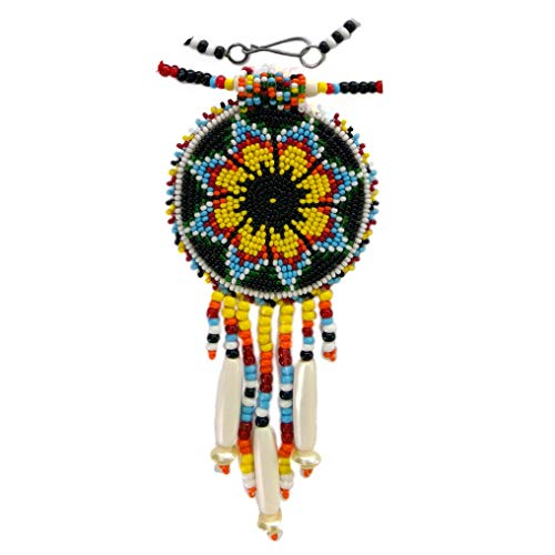 Native Style Beaded Necklace Earrings Set with Large Medallion Rosette Medallion Pendant (Yellow Black Flower) - Flower Medallion Pendant