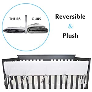 American Baby Company 1 Pack Heavenly Soft Chenille Reversible Crib Rail Cover for Long Rail, Grey/White, Wide for Rails Measuring up to 18″ Around
