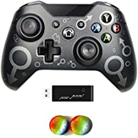Wireless Controller for Xbox One, No Headset Jack, 2.4GHZ Game Controller Gamepad Compatible with Xbox One S/X PC (Black…