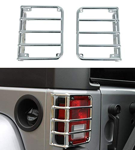 u-Box Jeep Wrangler Light Cover, Silver Chrome Rear Tail Light Cover Rugged Offroad for 07-18 Jeep JK Wrangler