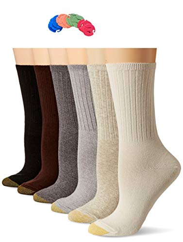 Gold Toe Women's 6 Pack Ribbed Crew Sock /6 Free Sock Clips Included ($5 Value) (Brown - Cotton Ribbed Socks Toe