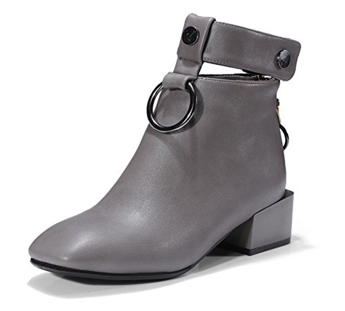 Aisun Moyen Talon Low Carré Femme Bout Métal Bottines Boots Bloc Gris Mode Bwx7B1qr