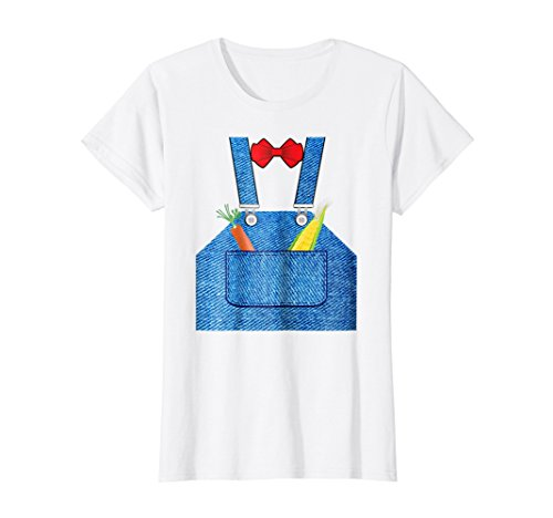 Womens Farmer Halloween Costume Shirt Fun For Trick or Treating Large White ()