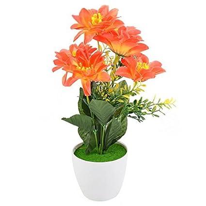 eDealMax plástico compartida arte de DIY decorativo Artificial de Emulational Flor de Naranja