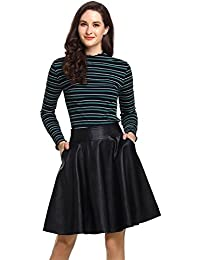 Womens Pleated A-Line Faux Leather Skirt With Pockets