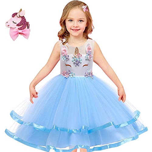 Girls Unicorn Costume Outfit Pageant Princess Party Dress with Unicorn Hair Clips Size 3T 4T 5T 6T 7T 8T 9T (Sky Blue, 8-9 -