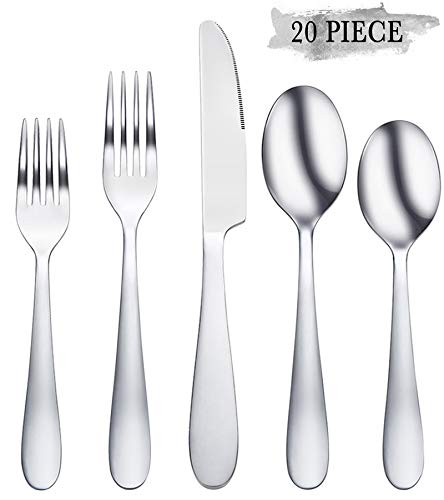 Silverware Set, Stainless Steel Flatware Silverware 20-Piece, Cutlery Mirror Polished Utensil, Tableware Sets Include Knife Fork Spoon for Kitchen Service for 4
