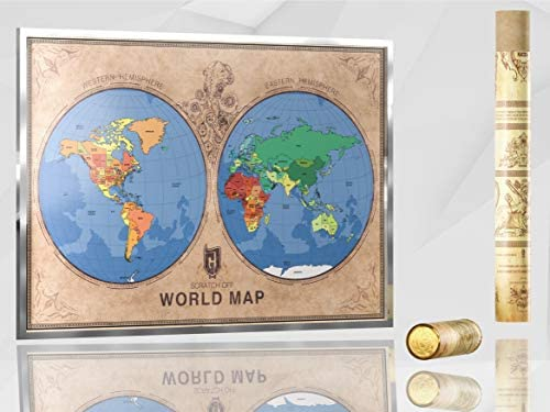 scratch off world map poster this is not only the map it is a travel emotions hemisphere design one of its kind scratching accessories included