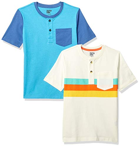 Sleeve Zebra Short - Spotted Zebra Little Boys' 2-Pack Short-Sleeve Henley Shirts, Multi Stripe/Navy, Small (6-7)