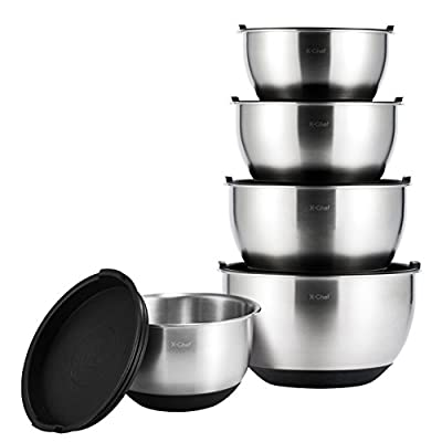 X-Chef Stainless Steel Mixing Bowls Set With Lids, Measurement Marks, Non-Slip(Set of 5) Mother's Day Gift