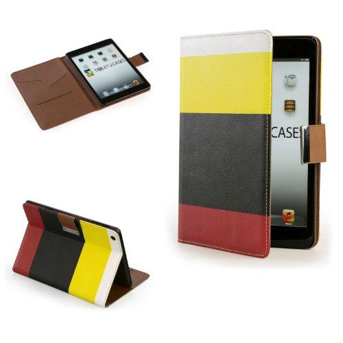 Cooper Cases(TM) Stripes Apple iPad Mini Portfolio in Yellow/Black/Red (Leather Exterior, Auto Sleep/Wake, Organizer, Multiple Angle Stand)