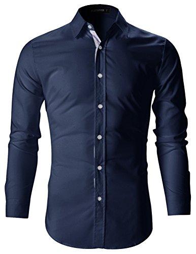 FLATSEVEN Mens Slim Fit Stylish Casual Dress Shirts (SH142) Navy, M