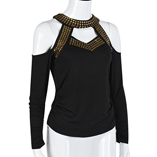 Rcool Mujeres de Fuera del Hombro de Manga Larga de Encaje Blusa de Suelta Camiseta Negro