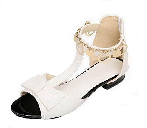 Sandales AgooLar à GMBLB013950 Couleur Blanc Talon Zip Unie Femme Bas 0fqa0ATw