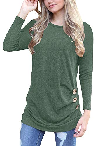 (Women's Fashion Long Sleeve Round Neck Solid Loose Tops Green)