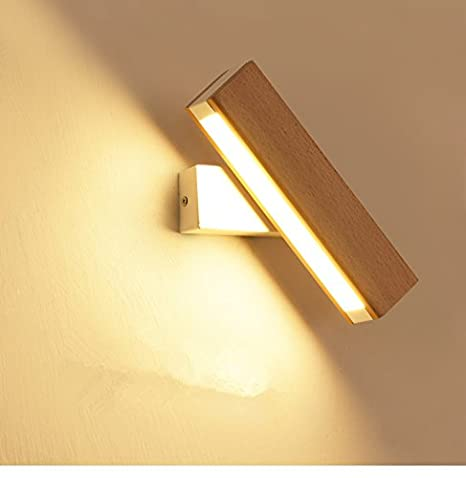 Amadoierly Wall Lamp Led Nordic Solid Wood Bedside Lamp Bedroom ...