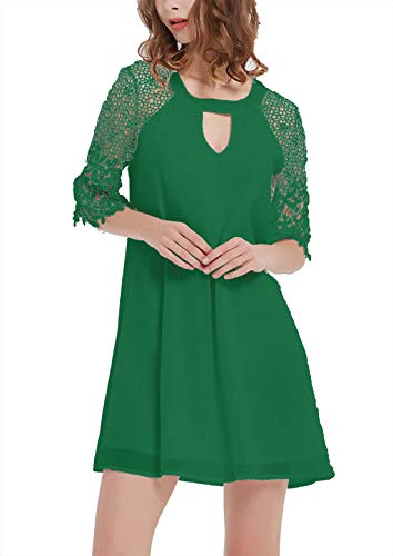 (DREAGAL Ladies Lace Sleeves Sexy Keyhole Front Short Formal Wedding Party Cocktail Dress Dark Green 3XL)