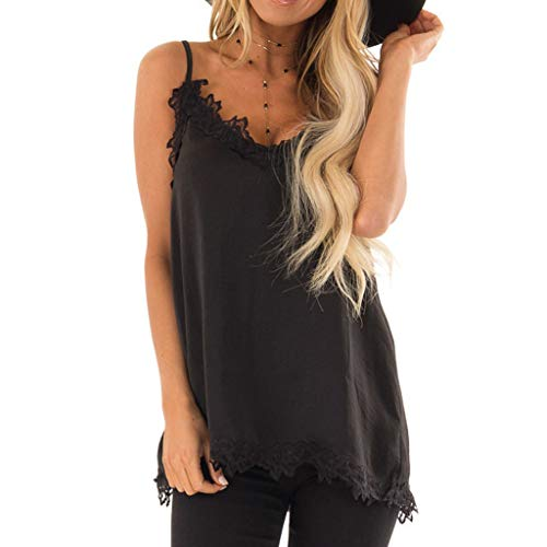 (Women Tank Tops Cami Camisoles Spaghetti Strap Tanks with Lace Trim Sleeveless T-Shirt Lace Chemise Nightgown Lingerie Black)