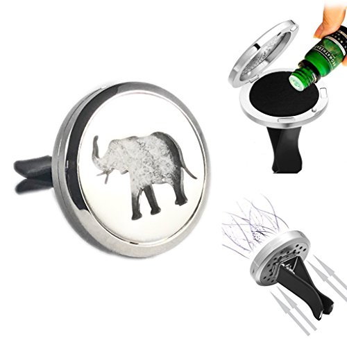Elephant Sanctuary Car Air Freshener Vent Clip Locket Aromatherapy Essential Oils Great For Travel Pads included