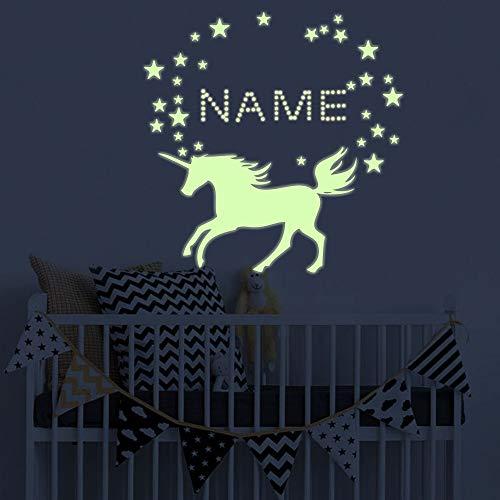 akeke Glow in The Dark Unicorn Nursery Wall Decal - Boys Girls Personalized Name Unicorn Wall Sticker - DIY Name Glow in The Dark Stars Decorations for Girls Bedroom Home Decor