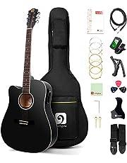 Left Handed Guitar Acoustic Electric Cutaway Guitar 41 Inch Full Size Beginner Kit Professional Black Guitar Left Hand, by Vangoa