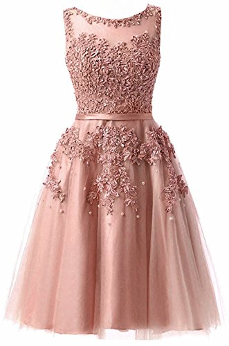 Bridesmaid Dresses Tulle Lace Junior's Formal Cocktail Applique Homecoming Dresses Evening Gowns Blush US16