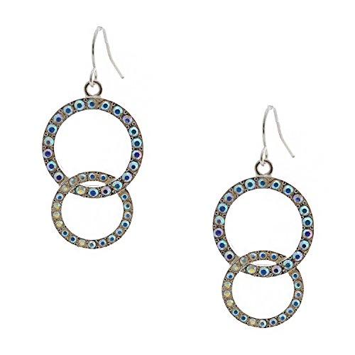 Circle Link Drop Earrings (Bridal Earrings Silver Crystal Auroa Borealis Circle Link Drop Earrings)
