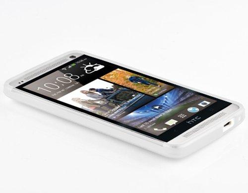 Cadorabo - HTC ONE M7 (1. Generación) Cubierta protectora de silicona TPU en diseño X-Line - Case Cover Funda Carcasa Protección en SEMI-TRANSPARENTE SEMI-TRANSPARENTE