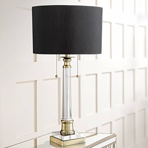 Stephan Traditional Table Lamp Crystal Column Antique Brass Black Drum Shade for Living Room Family Bedroom Bedside - Vienna Full Spectrum (Desk Traditional Brass Lamps)