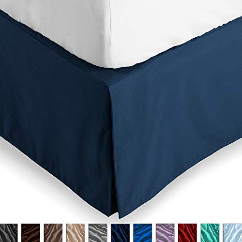 Bare Home Bed Skirt Double Brushed Premium Microfiber, 15-Inch Tailored Drop Pleated Dust Ruffle, 1800 Ultra-Soft Collection, Shrink and Fade Resistant (King, Dark Blue)