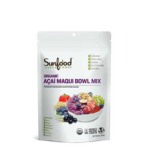 Sunfood Superfoods Acai Maqui Bowl Mix Powder. No Added Sugars, Artificial Flavors, Colors, or Preservatives. 100% Natural Organic Ingredients. Low Calorie Healthy Snack. 6 oz Bag, 11 Servings