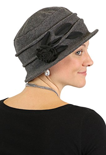 Fleece Hats for Women Cloche Cancer Headwear Chemo Cap Hair Loss Ladies (Grey with ()
