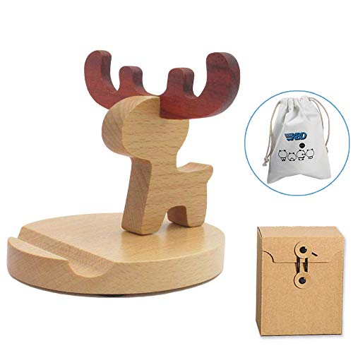 (Cute Cell Phone Stand with Small Bag, MHKBD Wooden Phone Stand Cell Phone Holder Desktop Cellphone Stand for iPhone X, iPhone 8 6S, Samsung APPL Mobile Phone, Great for Personal Use or As a Gift, Elk)