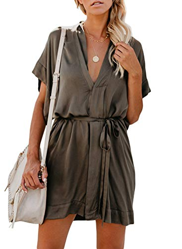 - Eytino Women Floral Deep V Neck Short Sleeve Tie Waist Mini Casual T Shirt Dress,Large Green