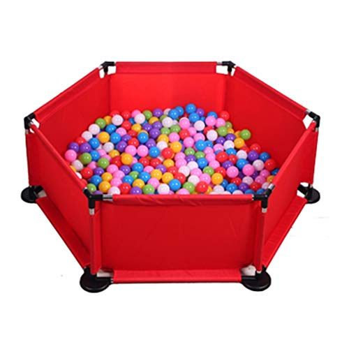 Playpens Children's Ocean Ball Pool Game Fence Indoor Toy Room Game Home Children's Playground with 100 Balls (Color : Red, Size : 127x127x42cm) (Playground Games 100)
