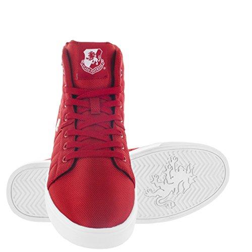 VLADO Footwear Mens Midas Mid Cordura Black/White Mid Top Sneaker Red MgIzpVzE