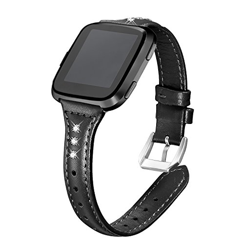 bayite Bands Compatible Fitbit Versa, Slim Genuine Leather Band Replacement Accessories Strap Women Black w/Rhinestone