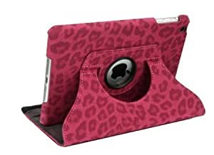 Bloutina HELPYOU Hot Pink iPad Air 360 Degrees Rotating Stand Luxury Leopard Design Synthetic Leather Case Protective Cover...
