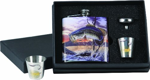 River's Edge Bass Design Stainless Steel Flask with Loading Funnel and Shot Glass by River's Edge Products