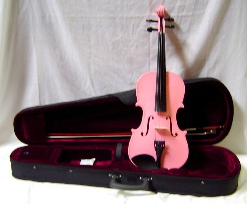 Crystalcello MV450PK 1/16 Size Violin with Carrying Case + Bow + Accessories - Pink Color 33382