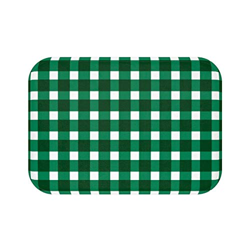 Gingham Pattern Green Bath Mat Bathroom Decor Interior Design Bath Rug Bath Decor Dorm Mat Home Decor