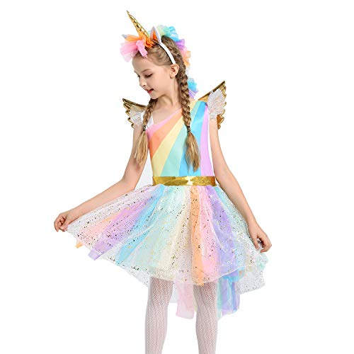 JiaDuo Girls Rainbow Unicorn Costume with Headband Halloween Party Dress Up XL ()